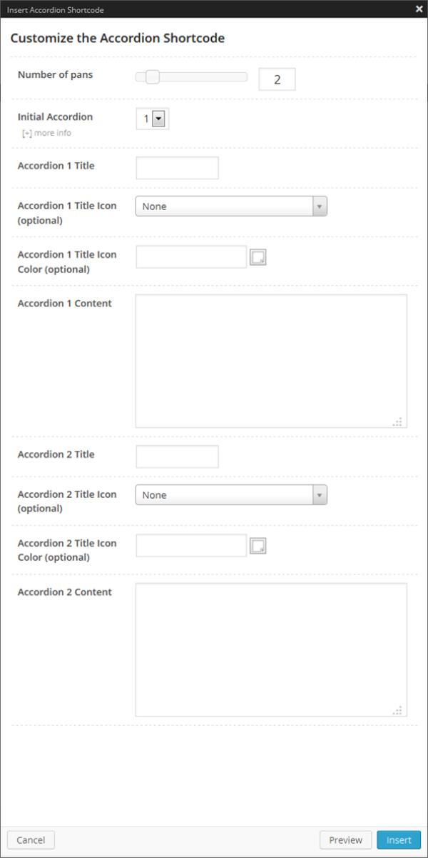 Accordion Shortcode Option Panel